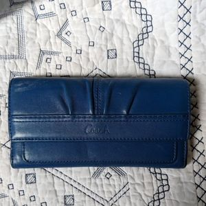 Royal Blue Leather Genuine Coach Wallet